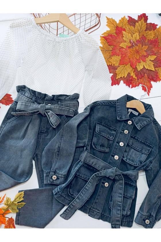 Kurtka Santen przedłużana jeans szara czerń