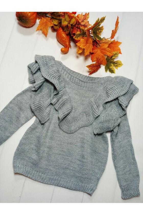 sweter falbanki jesień zima odzież dziecięca sówka