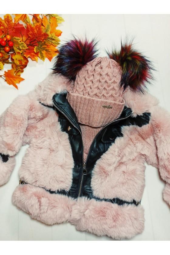Kurtka dla dziewcznki Ivana zimowa ekoskóra-miś  puderek
