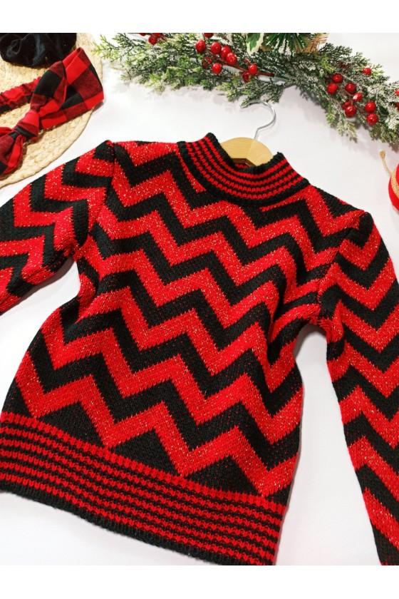 czerwony sweter dziewczynka zima święta gwiazdka odzież dziecięca sówka