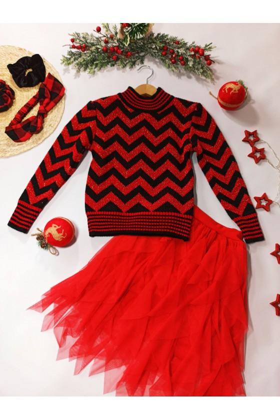 Sweter dla dziewczynki Zoja czerwony