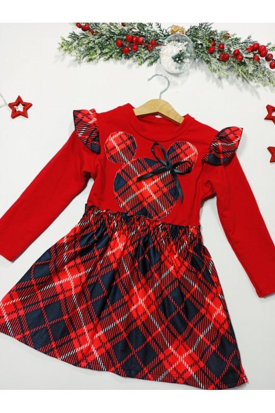 sukienka czerwona krata święta gwiazdka boże narodzenie dziewczynka odzież dziecięca sówka