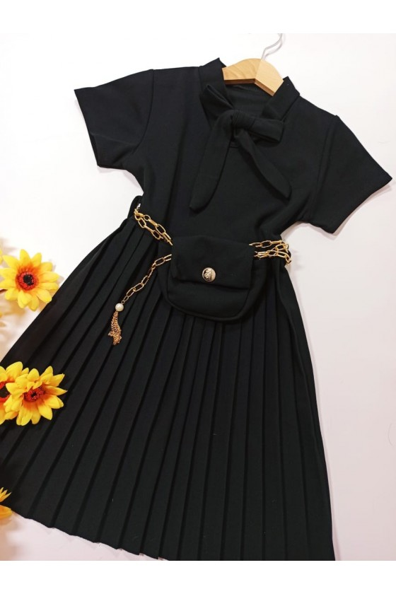 Eleni black pleated dress
