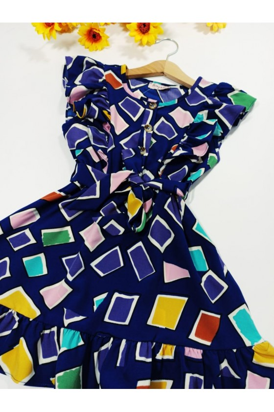 Dress Eliz geometric blue patterns