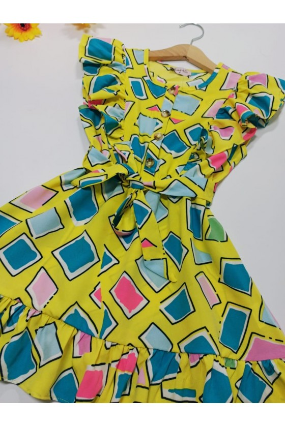 Dress Eliz geometric patterns yellow