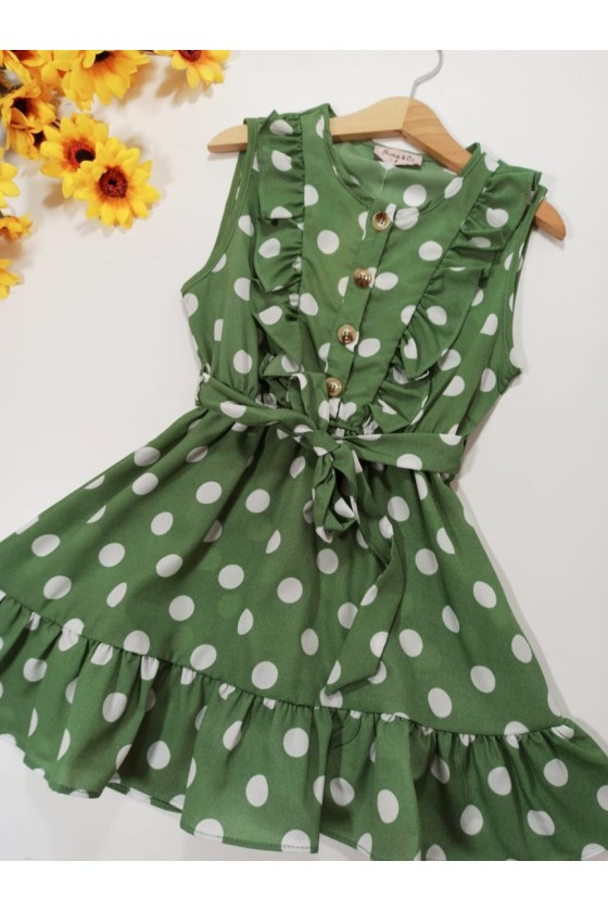 Sara dress frills green