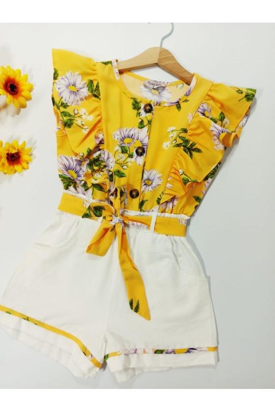 Short suit Flowers honey