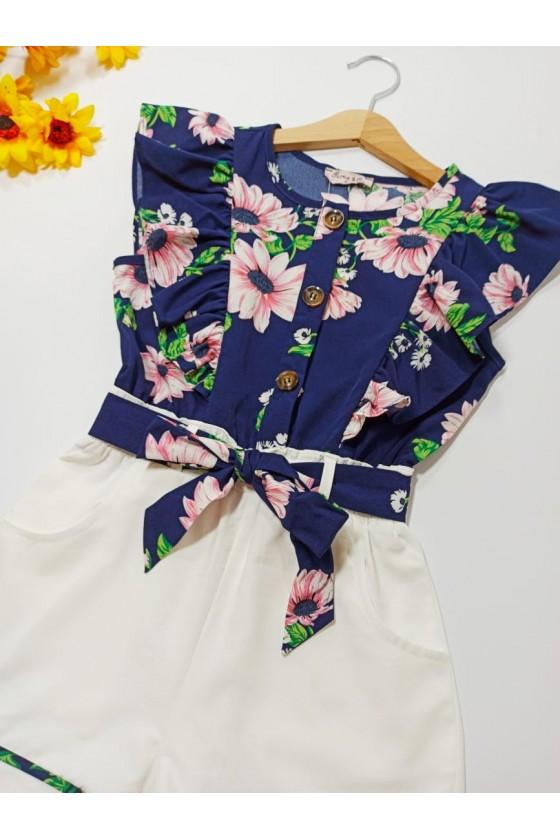 Flowers blue short jumpsuit