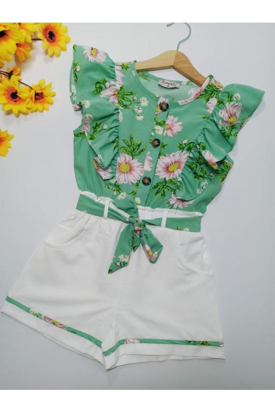 Flowers green short suit