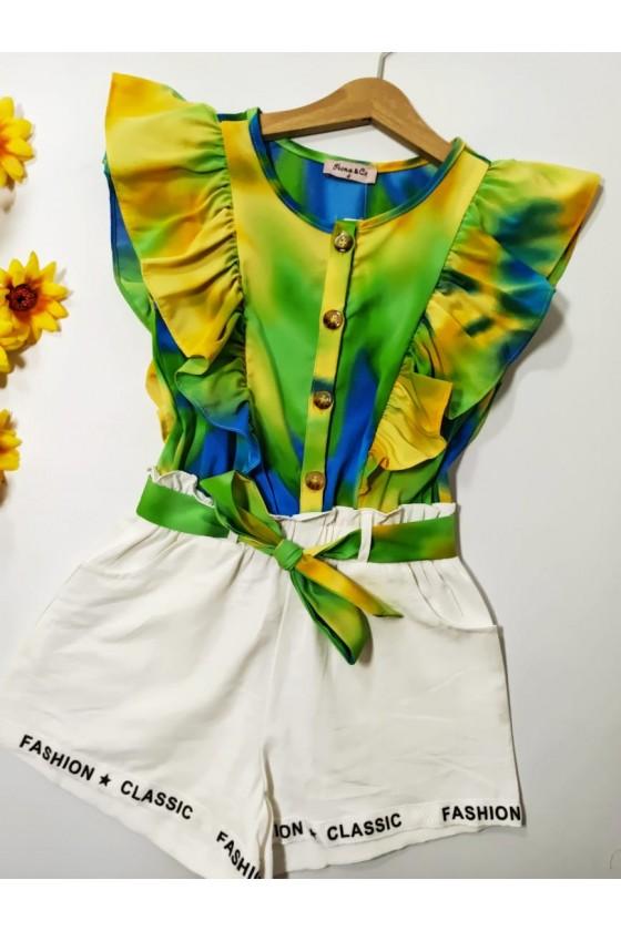 Tie Dye short green jumpsuit