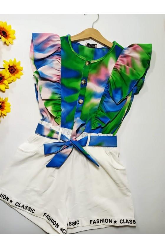 Tie Dye short blue jumpsuit