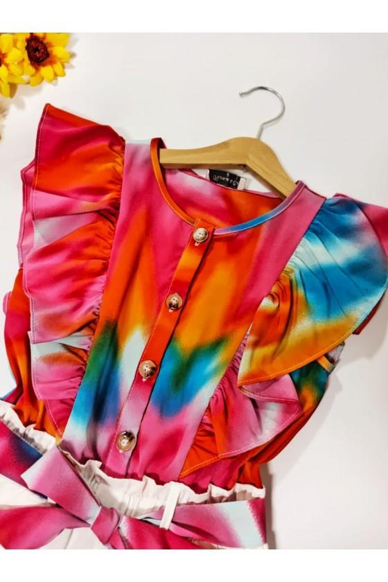 Tie Dye short pink jumpsuit
