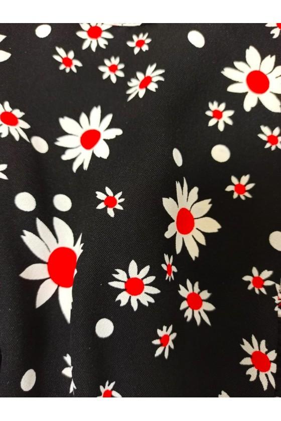 Blouse Daisy Flowers Black