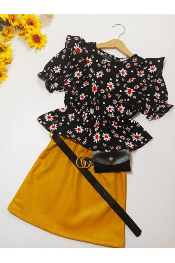 Skirt Nina honey belt with handbag