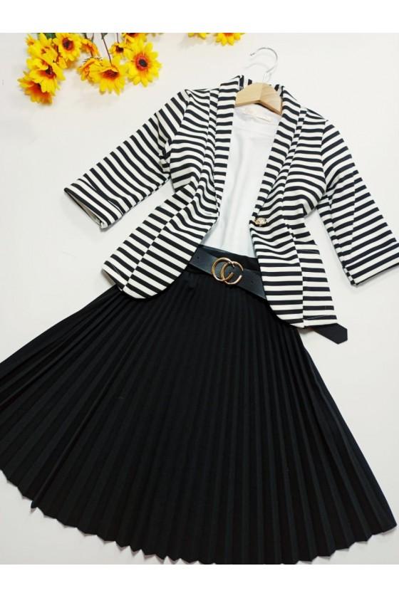 Katia Midi pleated skirt with black belt