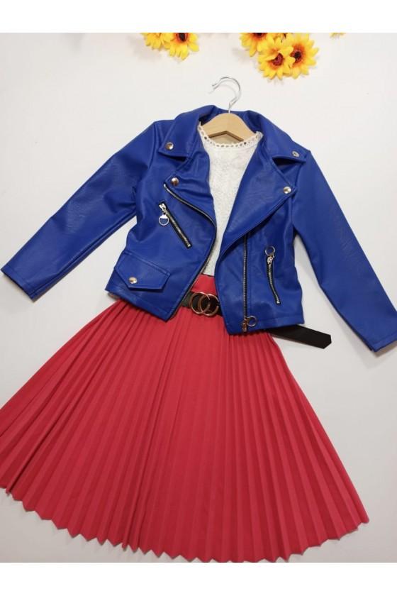 Katia Midi pleated skirt with amaranth strap