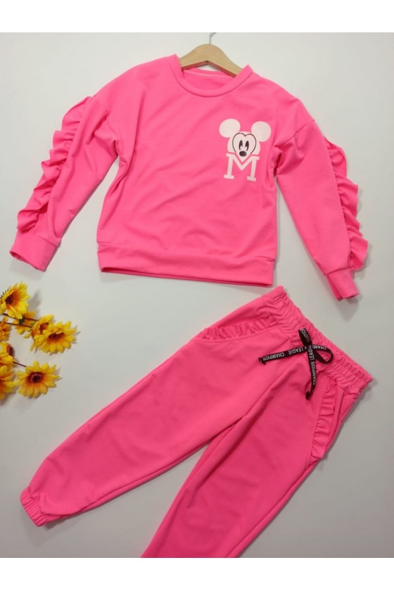 Set Mini pink neon sweatshirt + pants
