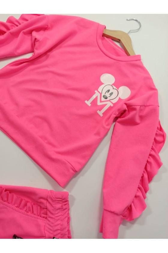 Komplet Mini pink neon bluza + spodnie