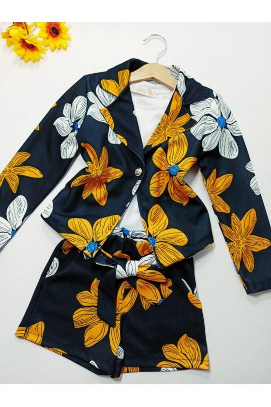 Set Lily jacket + shorts flowers black