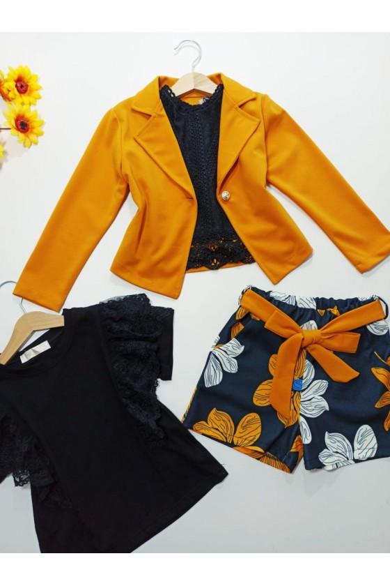 Set Naomi jacket + shorts honey flowers
