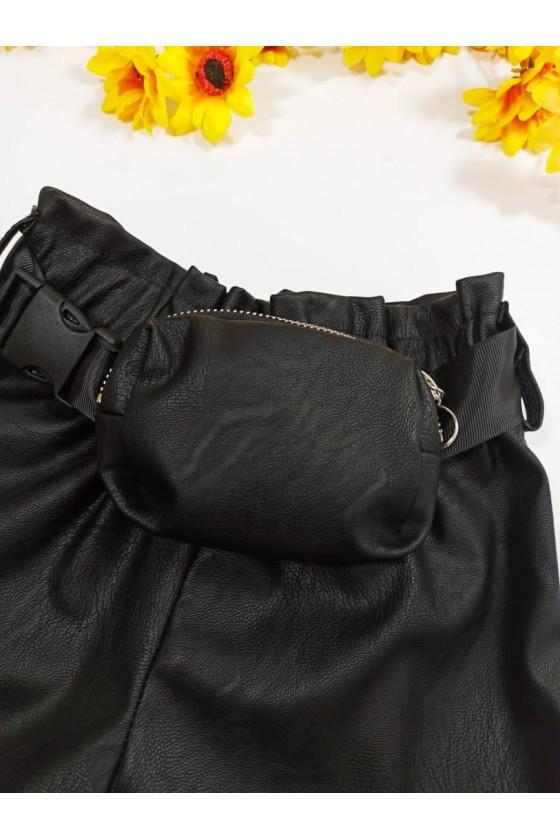 Spodenki  Moni black + pasek z torebeczką