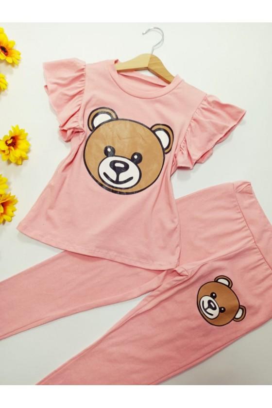 Set Estelle blouse and leggings teddy bear powder