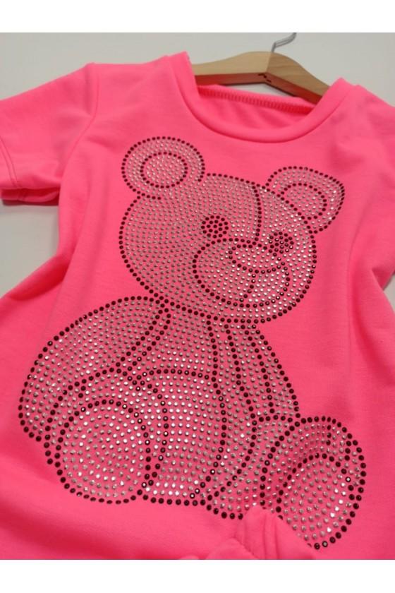 Komplet Freya  spódniczka + bluzka z cekinkami pink