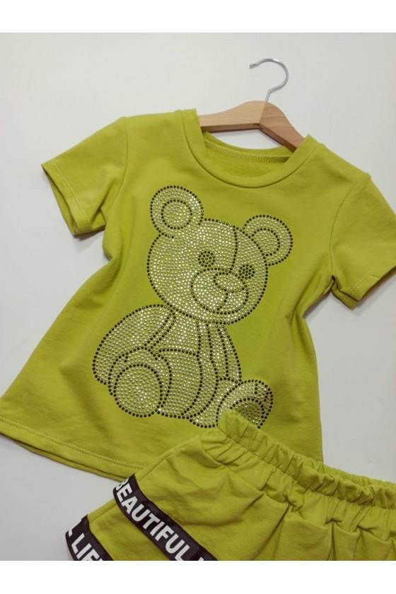 Komplet Freya  spódniczka + bluzka z cekinkami green
