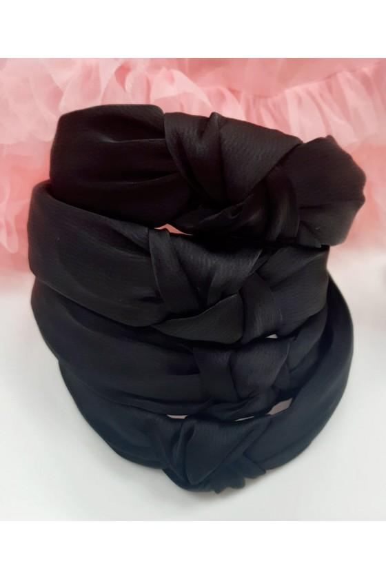 Black satin turban band