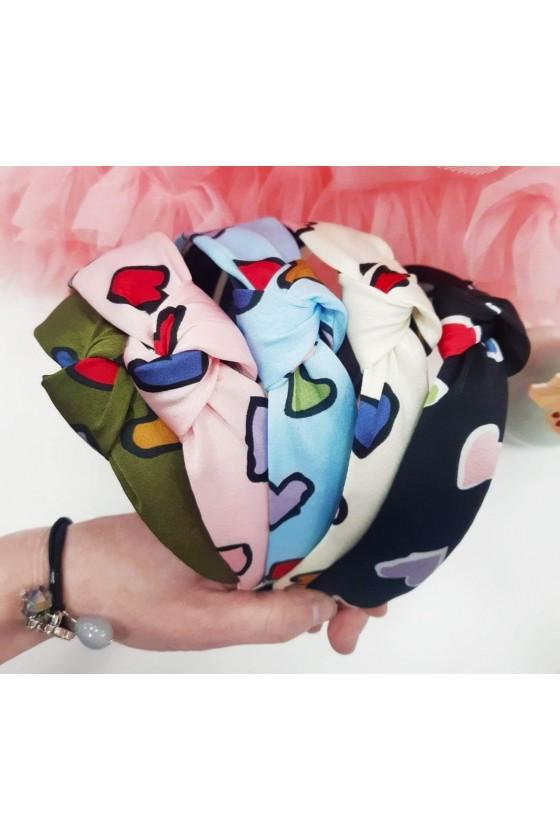 Opaska turban kolorowe serca