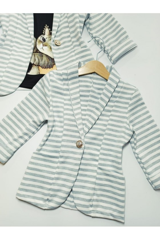 Moni grey striped jacket, 3/4 sleeve
