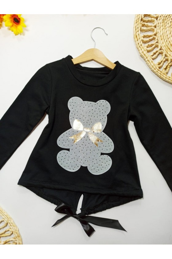 Blouse Nora black teddy bear