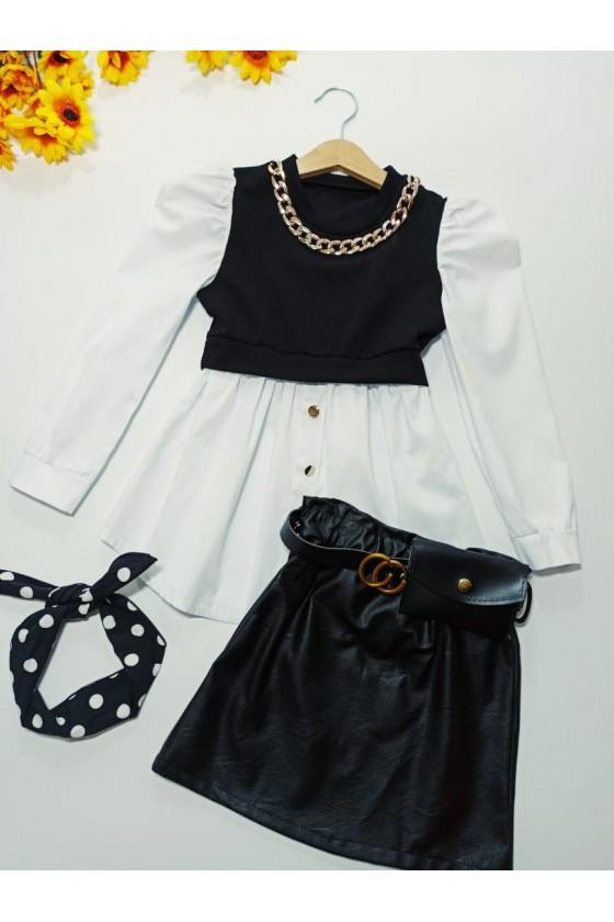 Kylie's t-shirt-tunic chain white/black