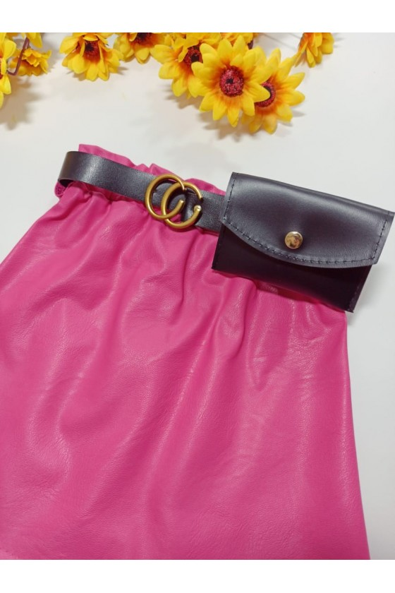Nina pink skirt strap with handbag