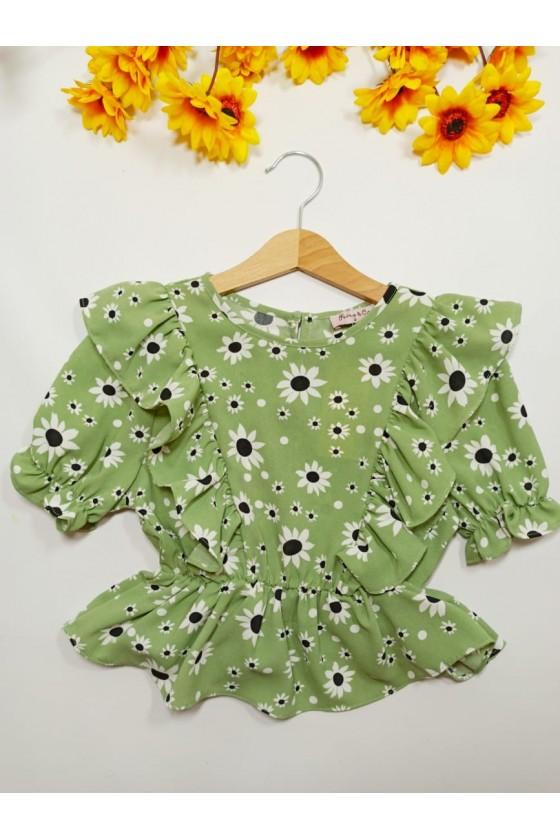 Daisy blouse mint flowers