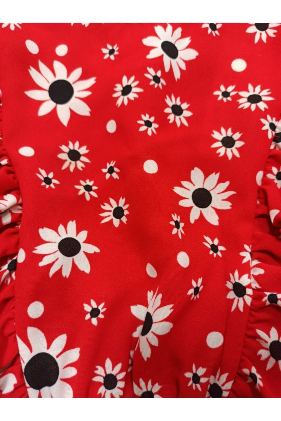Blouse Daisy Red Flowers