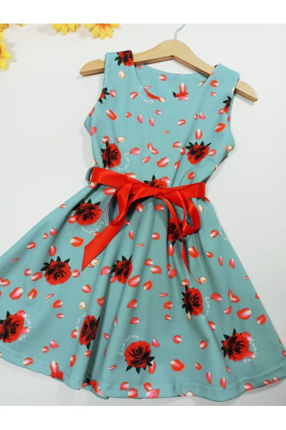 Dress Stella flowers turquoise