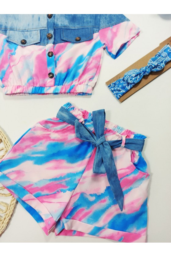 Rainbow pink/blue tie day set