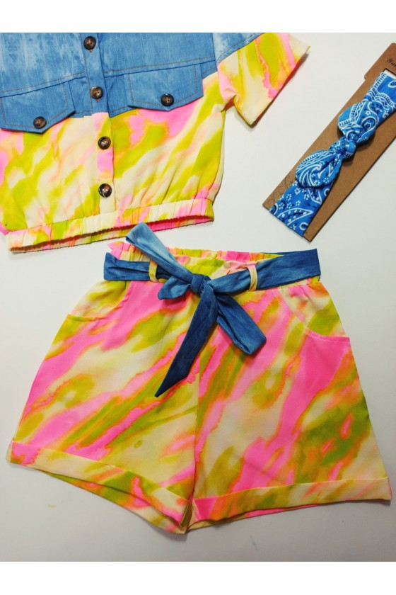 Rainbow yellow pink tie day set