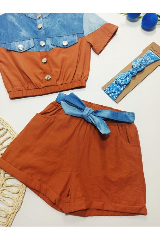 Set Timonka blouse and shorts chocomilk