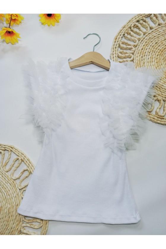 Bluzka Pufi bawełna biała