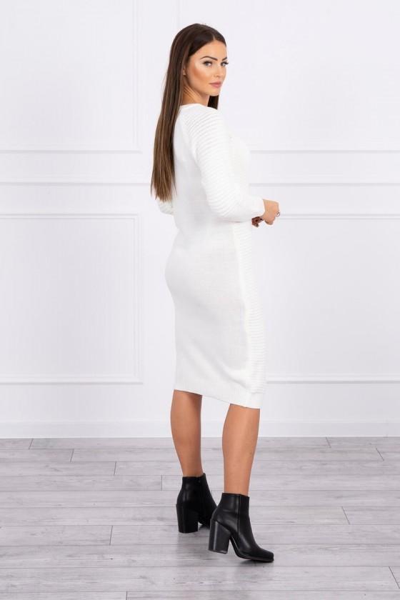 Sukienka sweterkowa w prążek ecru