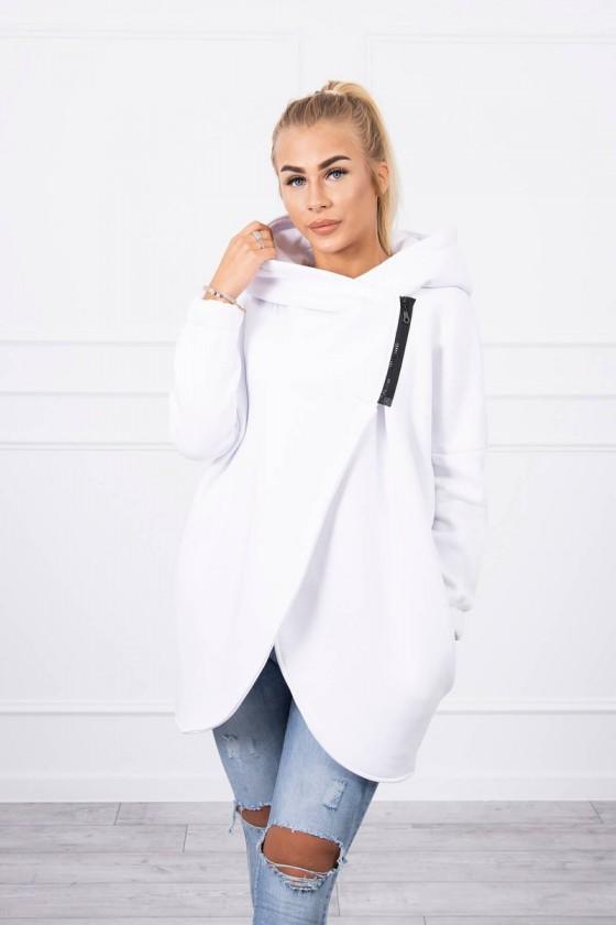 Bluza z krótkim suwakiem biała