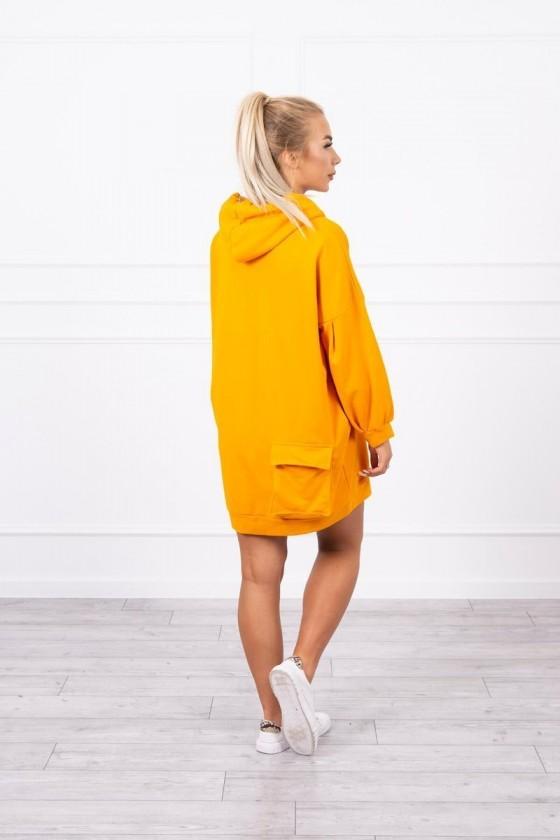 Sukienka z kieszenią z tyłu, musztardowa