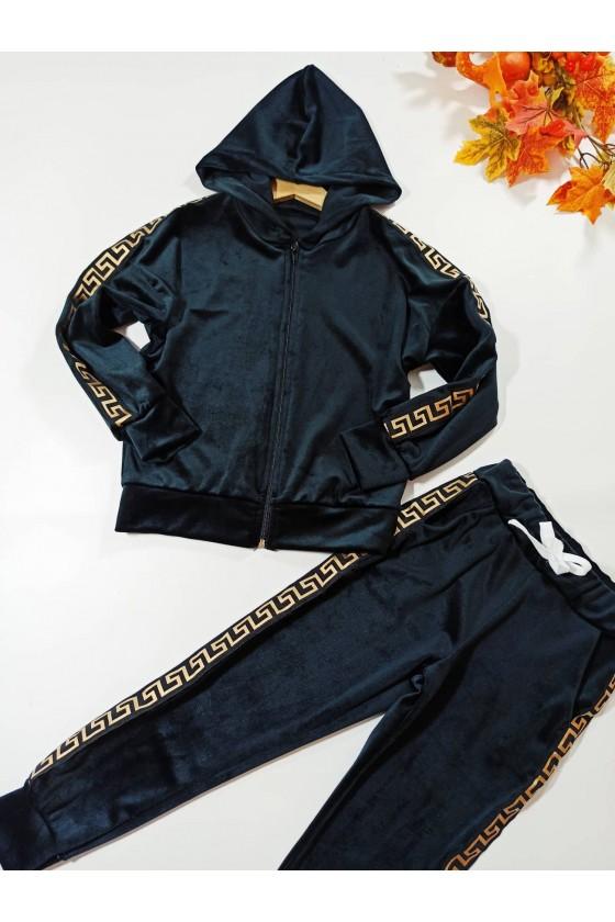 Komplet dla dziewczynki welurowy Inez bluza i spodnie Czarny