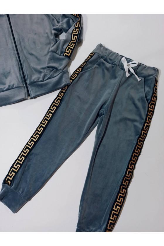 Komplet dla dziewczynki welurowy Inez bluza i spodnie Szary