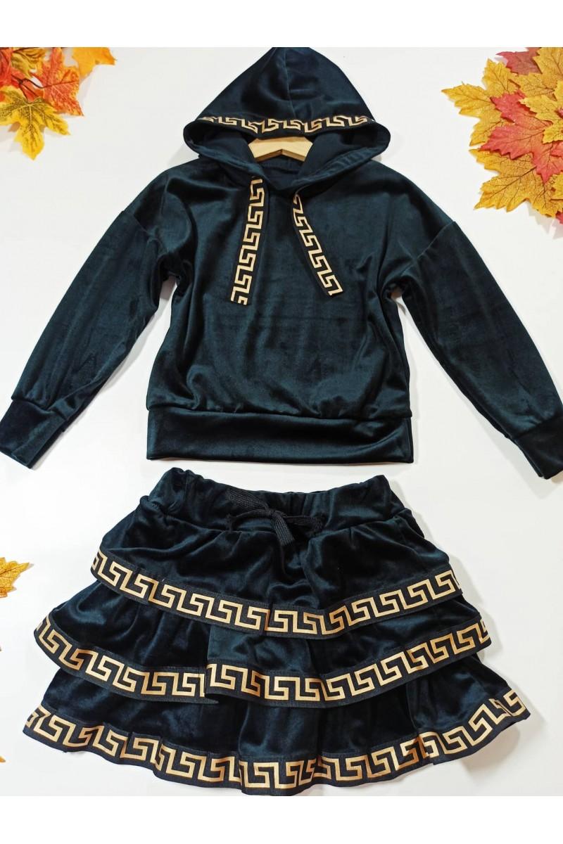 Komplet welurowy dla dziewczynki bluza z kapturem i spódniczka jesień Sówka odzież dziecięca