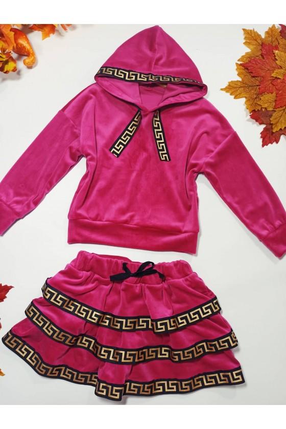 Komplet welurowy dla dziewczynki bluza z kapturem i spódniczka jesień Sówka