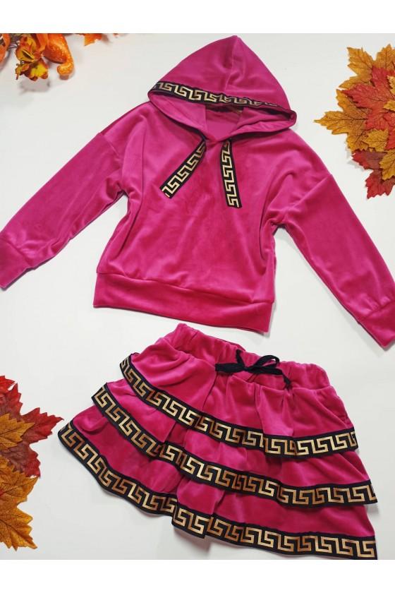 Komplet dla dziewczynki Hanna bluza i spódniczka fuksja