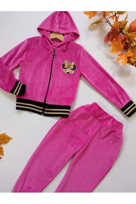 Komplet welurowy dla dziewczynki bluza rozpinana na zamek  i spodnie dres jesień w Sówka